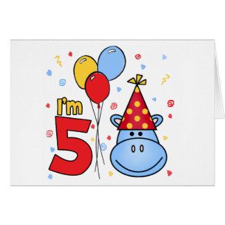 Blue Hippo Face 5th Birthday Invitation Note Card