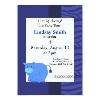 Blue Hippo Party Invitation
