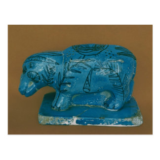 Blue hippopotamus with black decoration postcard