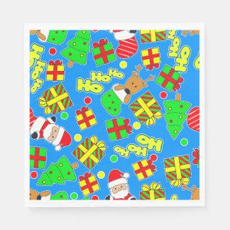 Blue - Ho Ho Santa Disposable Napkin