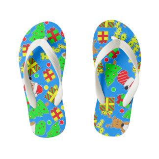 Blue - Ho Ho Santa Kid's Flip Flops