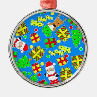 Blue - Ho Ho Santa Metal Ornament