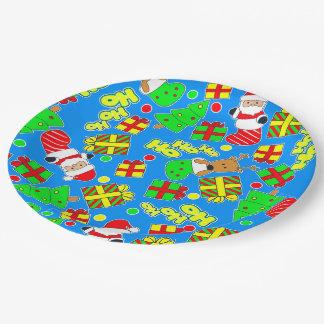 Blue - Ho Ho Santa Paper Plate