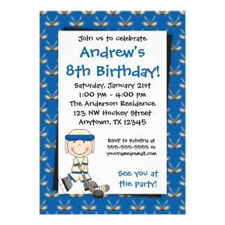 Blue Hockey Birthday Invitations