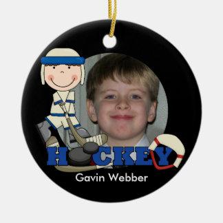 Blue Hockey Player Photo Ornament