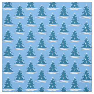 Blue Holiday Fabric Blue Christmas Tree Fabrics