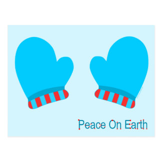 Blue Holiday Mittens (Peace On Earth) Post Cards