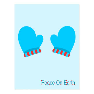 Blue Holiday Mittens (Peace On Earth) Postcards