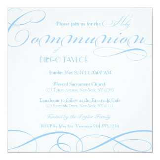 Blue Holy Communion Invite