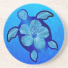 Blue Honu Turtle and Hibiscus Coaster