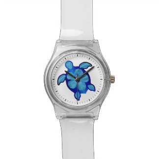 Blue Honu Turtle and Hibiscus Watch