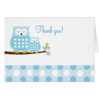 Blue Hoot Owls on Branch Thank you Card