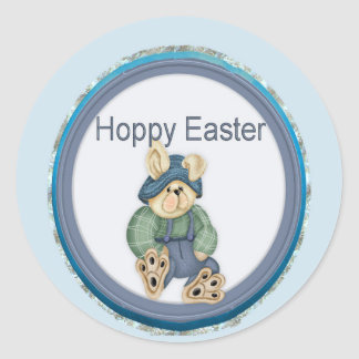 Blue Hoppy Easter Bunny Round Sticker