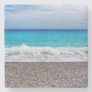 Blue Horizon Sandy Seashore Stone Coaster