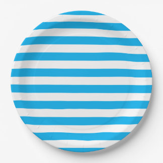 Blue Horizontal Stripes 9 Inch Paper Plate