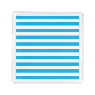 Blue Horizontal Stripes Acrylic Tray