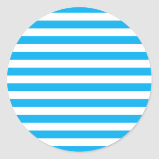 Blue Horizontal Stripes Classic Round Sticker