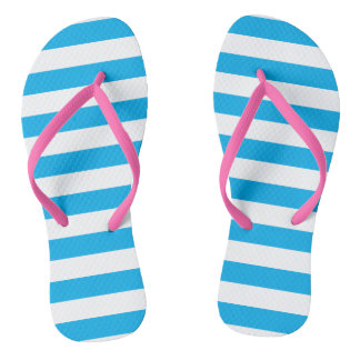 Blue Horizontal Stripes Flip Flops
