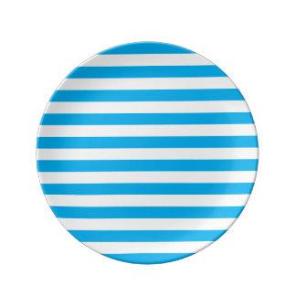 Blue Horizontal Stripes Porcelain Plates