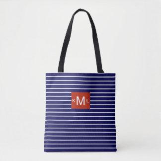 Blue Horizontal Stripes Red Monogram Template Tote Bag
