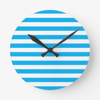 Blue Horizontal Stripes Round Clock