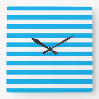 Blue Horizontal Stripes Square Wall Clock