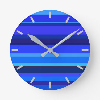 Blue horizontal stripes wall clock