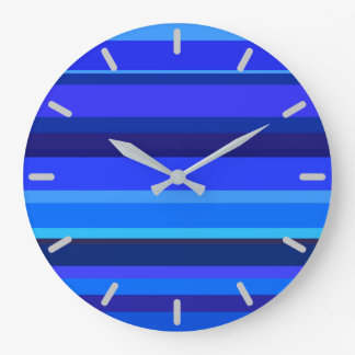 Blue horizontal stripes wallclock