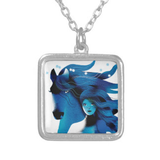 Blue Horse and a Girl Necklace