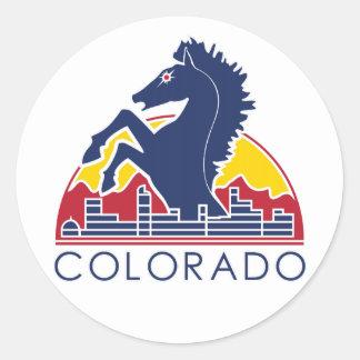 Blue Horse Colorado Logo Classic Round Sticker