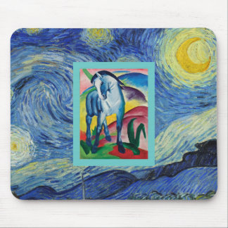Blue Horse in  the Starry Night Mouse Pad