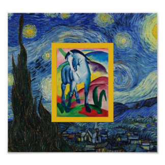 Blue Horse in  the Starry Night Poster