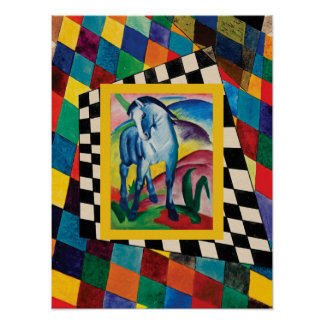Blue Horse on the Checkerboard Poster