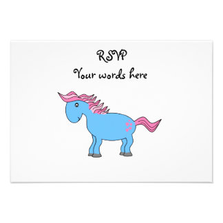 Blue horse with pink hearts personalized announcements