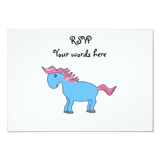 """Blue horse with pink mane 3.5"""" x 5"""" invitation card"""