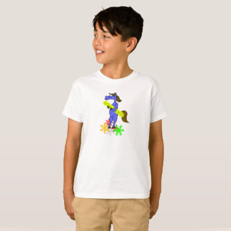 Blue horse with snowboard girls shirt