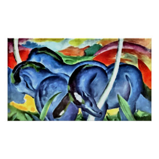 Blue horses expressionist painting poster