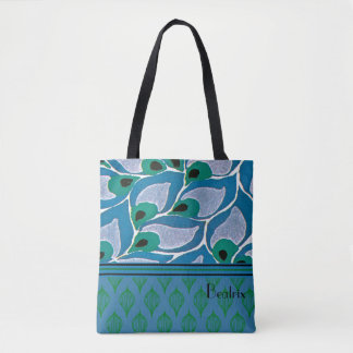 Blue Hostas Art Nouveau Tote Bag