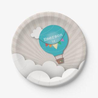 Blue Hot Air Balloon Birthday Paper Plate