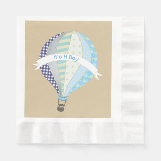 Blue Hot Air Balloon Boy Baby Shower Napkins Paper Napkins