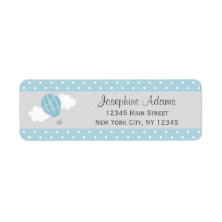 Blue Hot Air Balloon Return Address Labels