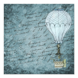 Blue Hot Air Balloon Steampunk Scrapbook Paper Card