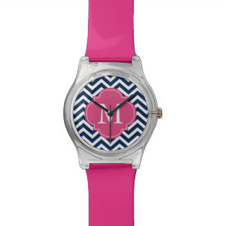 Blue & Hot Pink Chevrons Monogram Watch