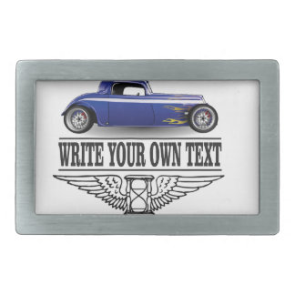 blue hot rod belt buckle