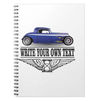 blue hot rod spiral notebooks