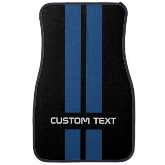 Blue Hot Rod Stripes Car Mats - with custom text Car Floor Carpet