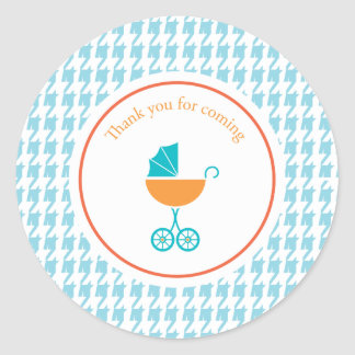 Blue Houndstooth and Carriage |  Favor Sticker