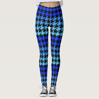 Blue houndstooth checkered pattern leggings