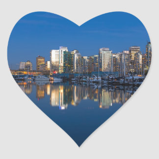 Blue Hour Reflection of Vancouver BC Heart Sticker