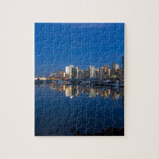Blue Hour Reflection of Vancouver BC Jigsaw Puzzle